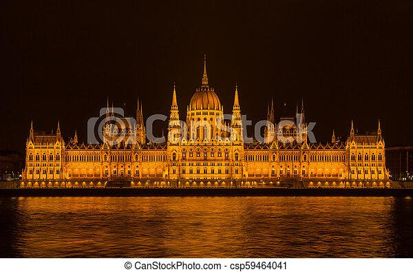 Budapest Parliament at night - csp59464041
