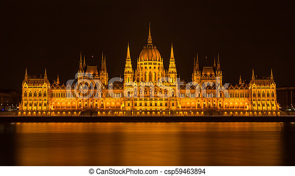 Budapest Parliament at night - csp59463894