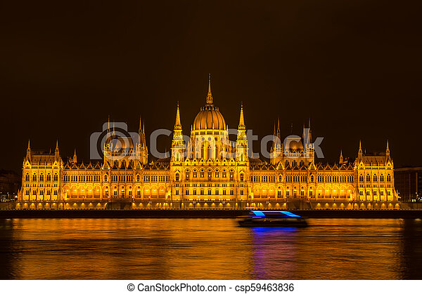 Budapest Parliament at night - csp59463836