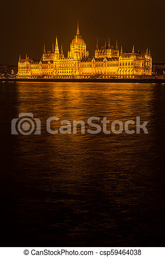 Budapest Parliament at night - csp59464038