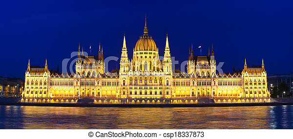 Budapest Parliament at night with reflection in Danube river  - csp18337873
