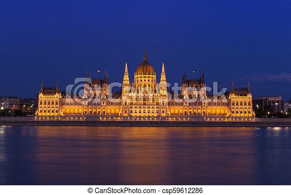 Budapest Parliament building at night. Hungary - csp59612286