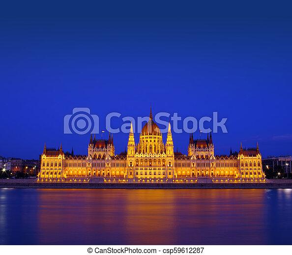 Budapest Parliament building at night. Hungary - csp59612287