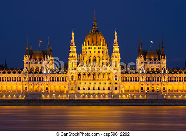 Budapest Parliament building at night. Hungary - csp59612292