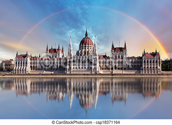 Budapest - Parliament.with reflection in Danube - csp18371164
