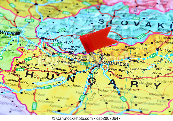 Budapest Pinned On A Map Of Europe Photo Of Pinned Budapest On A