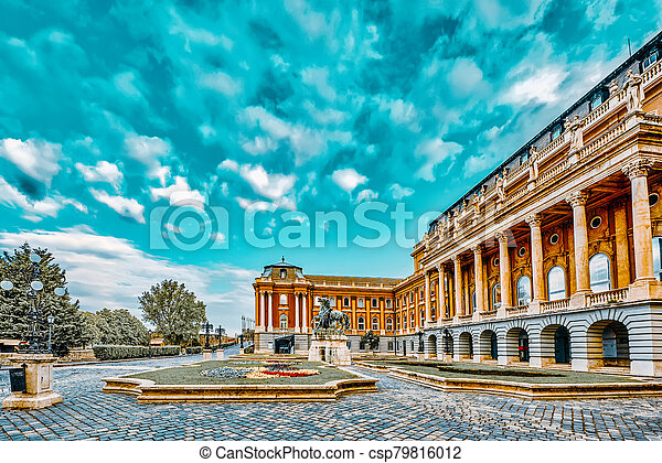 Budapest Royal Castle -Courtyard of the Royal Palace in Budapest. Hungary. - csp79816012
