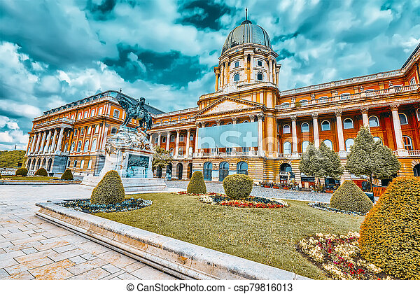 Budapest Royal Castle -Courtyard of the Royal Palace in Budapest. Hungary. - csp79816013