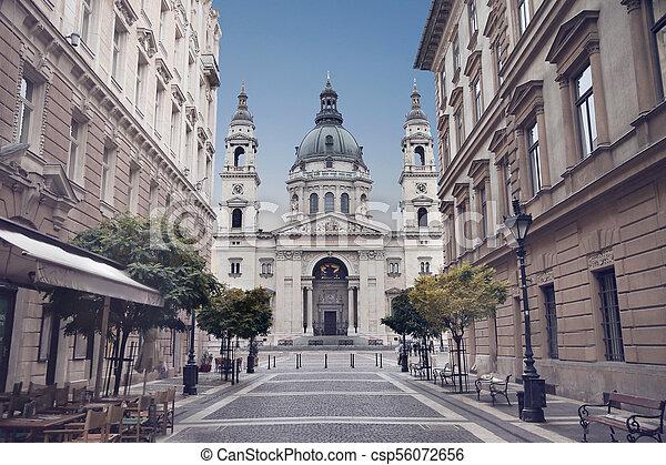 Budapest - St. Stephen's Basilica, Hungary. View of Szent Istvan Bazilika over blue sky from Zrinyi Utca. - csp56072656