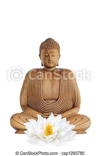 Buddha and Lotus Lily Flower - csp1293780