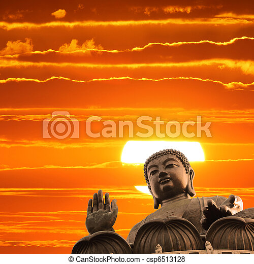 Buddha at sunset - csp6513128