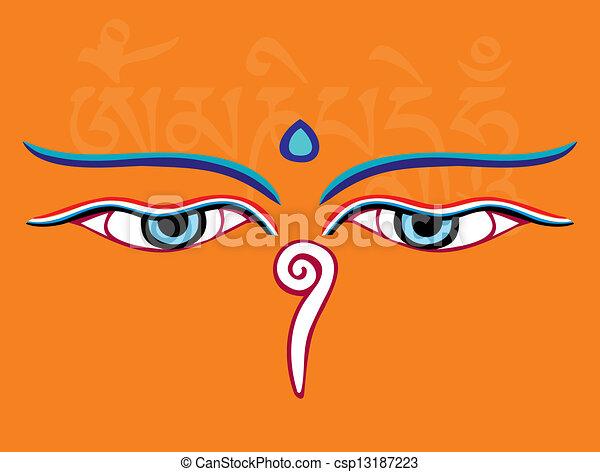Buddha Eyes Or Wisdom Eyes Holy Asian Religious Symbol Vector