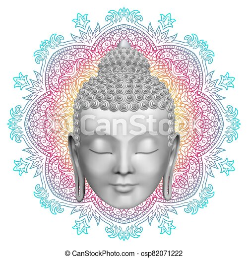Buddha face and round color mandala pattern - csp82071222