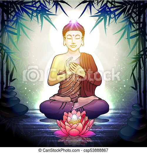 Buddha in meditation with lotus flower in tranquil zen garden buddha in meditation with lotus flower in tranquil zen garden transparency blending effects and gradient mesh eps 10 mightylinksfo