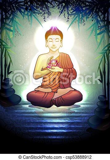 Buddha in Tranquil Zen Garden - csp53888912
