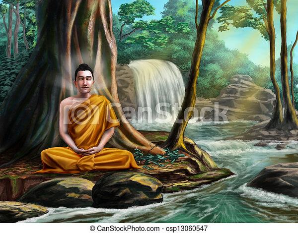 buddha meditating buddha sitting in meditation near a small stream