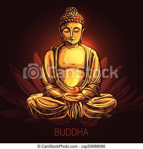 Buddha On Lotus Flower Illustration - csp30688066