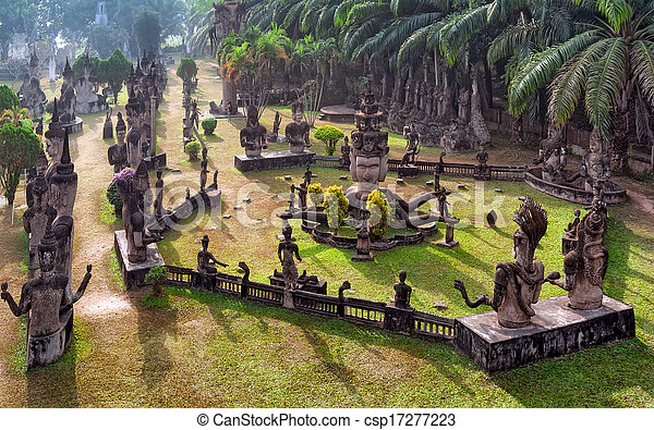 Buddha park in Vientiane, Laos. Famous travel tourist landmark  - csp17277223