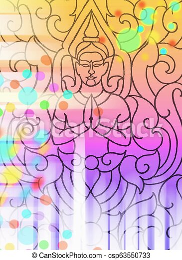 buddha pattern line Thai and light effect bokeh - csp63550733