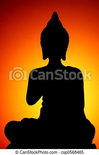 buddha, silhouette - csp0568465
