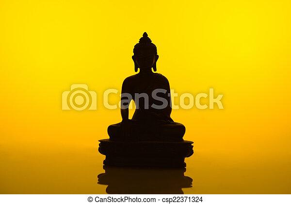 Buddha Silhouette Yellow High Resolution Image Of Buddha Statue Canstock