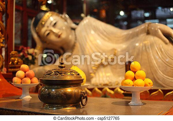 Buddha statue at Jade Buddha temple in Shanghai, China - csp5127765