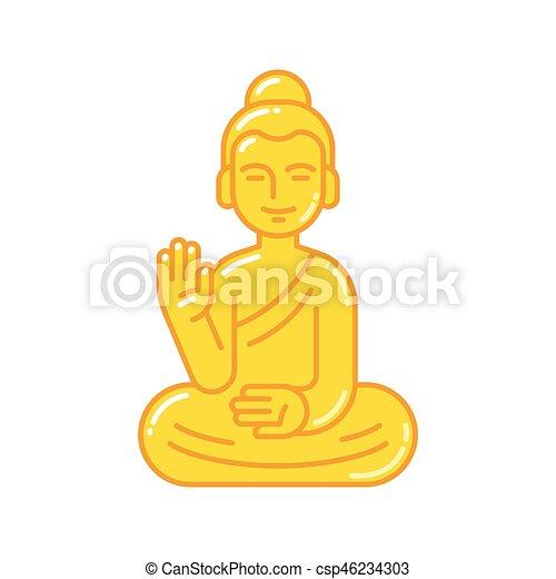 Buddha Statue Icon Golden Buddha Statue With Raised Hand Simple