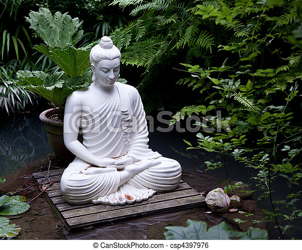 buddha statue in pond statue of buddha on wooden platform in pool