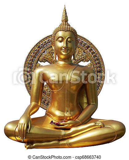 Buddha statue in pubic temple of thailand. Isolated on white background. - csp68663740