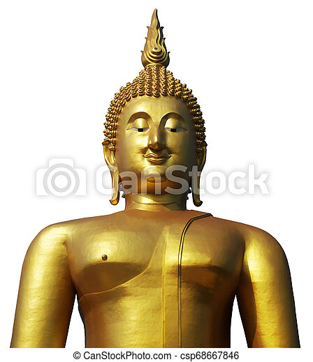 Buddha statue in pubic temple of thailand. Isolated on white background. - csp68667846