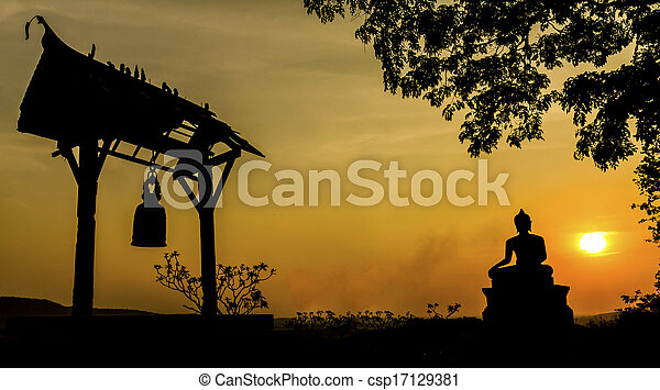Buddha statue in sunset at Phrabuddhachay Temple Saraburi, Thailand.  - csp17129381