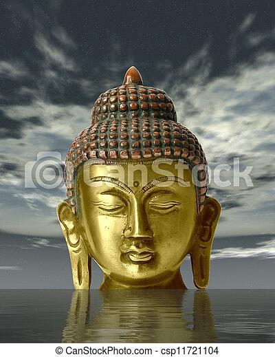Buddha statue on a white background - csp11721104