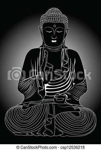 Buddha in black and white