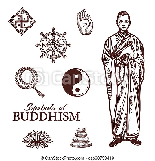 Buddhism Religion Symbols And Vector Sketch Signs Buddhism Religion