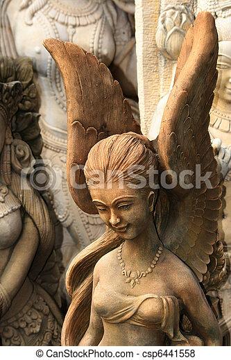 Buddhist angel statue, Thailand. - csp6441558
