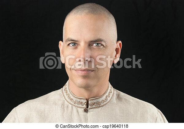 Buddhist Looks To Camera - csp19640118