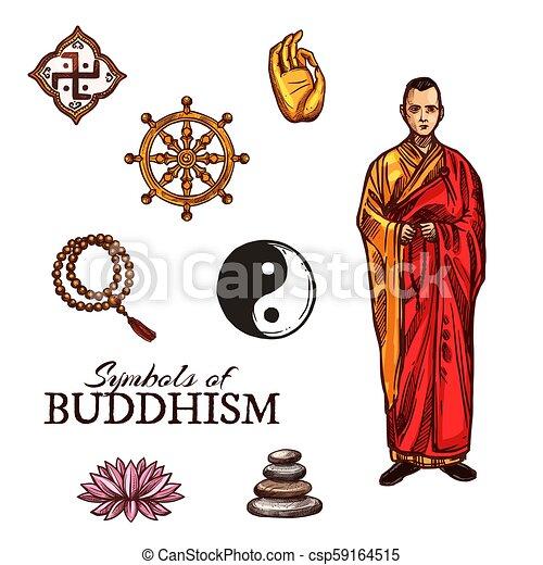 Buddhist Monk And Buddhism Religion Holy Symbols Symbols Of