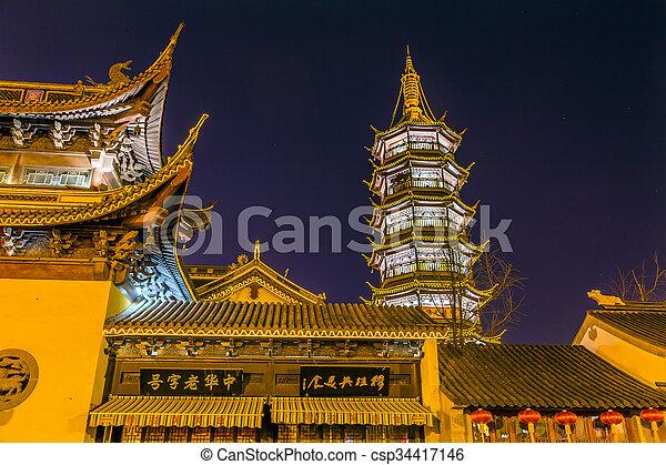 Buddhist Nanchang Temple Pagoda Stars Wuxi Jiangsu China Night - csp34417146