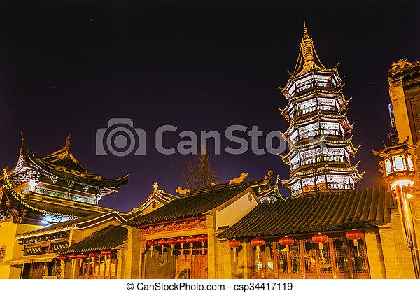 Buddhist Nanchang Temple Pagoda Wuxi Jiangsu China Night - csp34417119