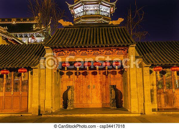 Buddhist Nanchang Temple Wooden Door Pagoda Wuxi Jiangsu China Night - csp34417018