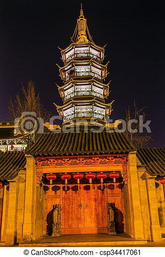Buddhist Nanchang Temple Wooden Door Pagoda Wuxi Jiangsu China Night - csp34417061