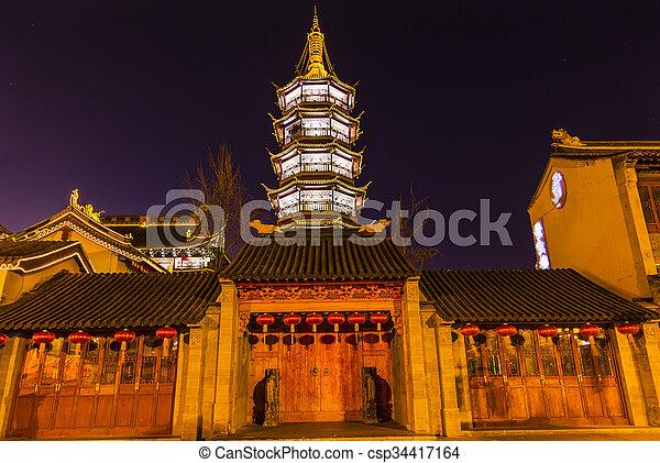 Buddhist Nanchang Temple Wooden Door Pagoda Wuxi Jiangsu China Night - csp34417164