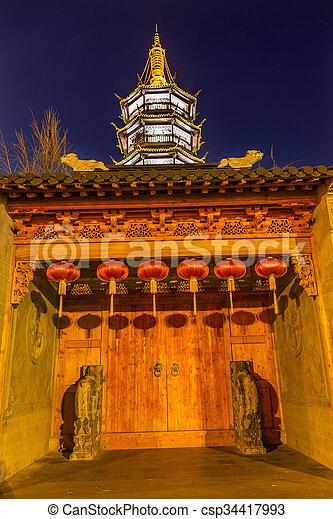 Buddhist Nanchang Temple Wooden Door Pagoda Wuxi Jiangsu China Night - csp34417993