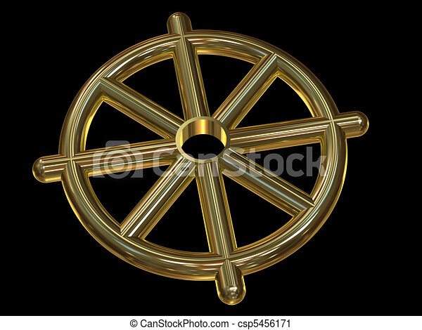 Buddhist Wheel Symbol Dharmachakra Made Of Gold On Black