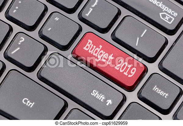 Budget 2019 on red enter key, of a black keyboard. - csp61629959