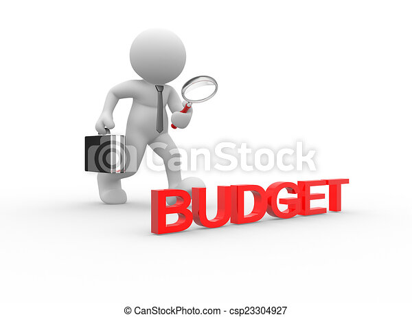 3d people man person with magnifying glass budget clip art rh canstockphoto com budget meeting clip art school budget clipart