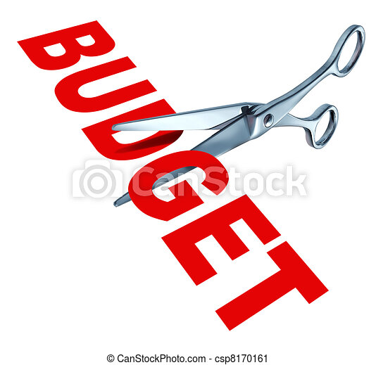 Budget Cuts Symbol For Reducing Budgeted Expenditures By Slashing