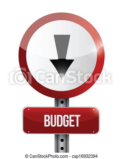 budget, illustrazione, segno, giù, andare, strada - csp16932394