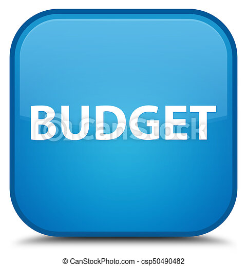 Budget special cyan blue square button - csp50490482