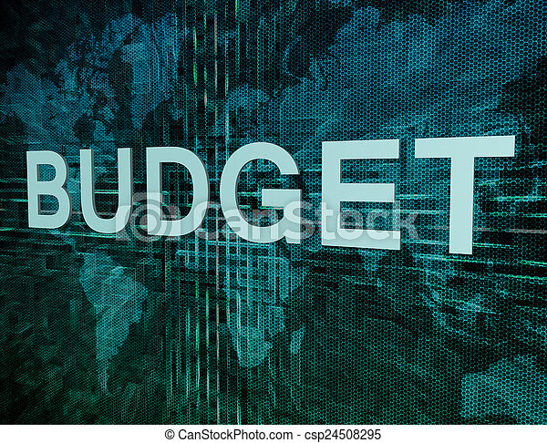 Budget text concept on green digital world map background budget text concept on green digital world map background gumiabroncs Images